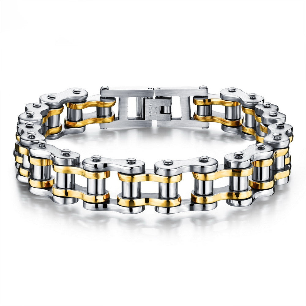 Cool Men Biker Bicycle Motorcycle Chain Men's Bracelets & Bangles Fashion 4 Color 316L Stainless Steel Jewelry
