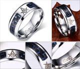 Men Masonic Rings Stainless Steel Wedding Rings for Men Jewelry With Blue & Black Carbon Fiber 8mm Wide Rings Jewelry