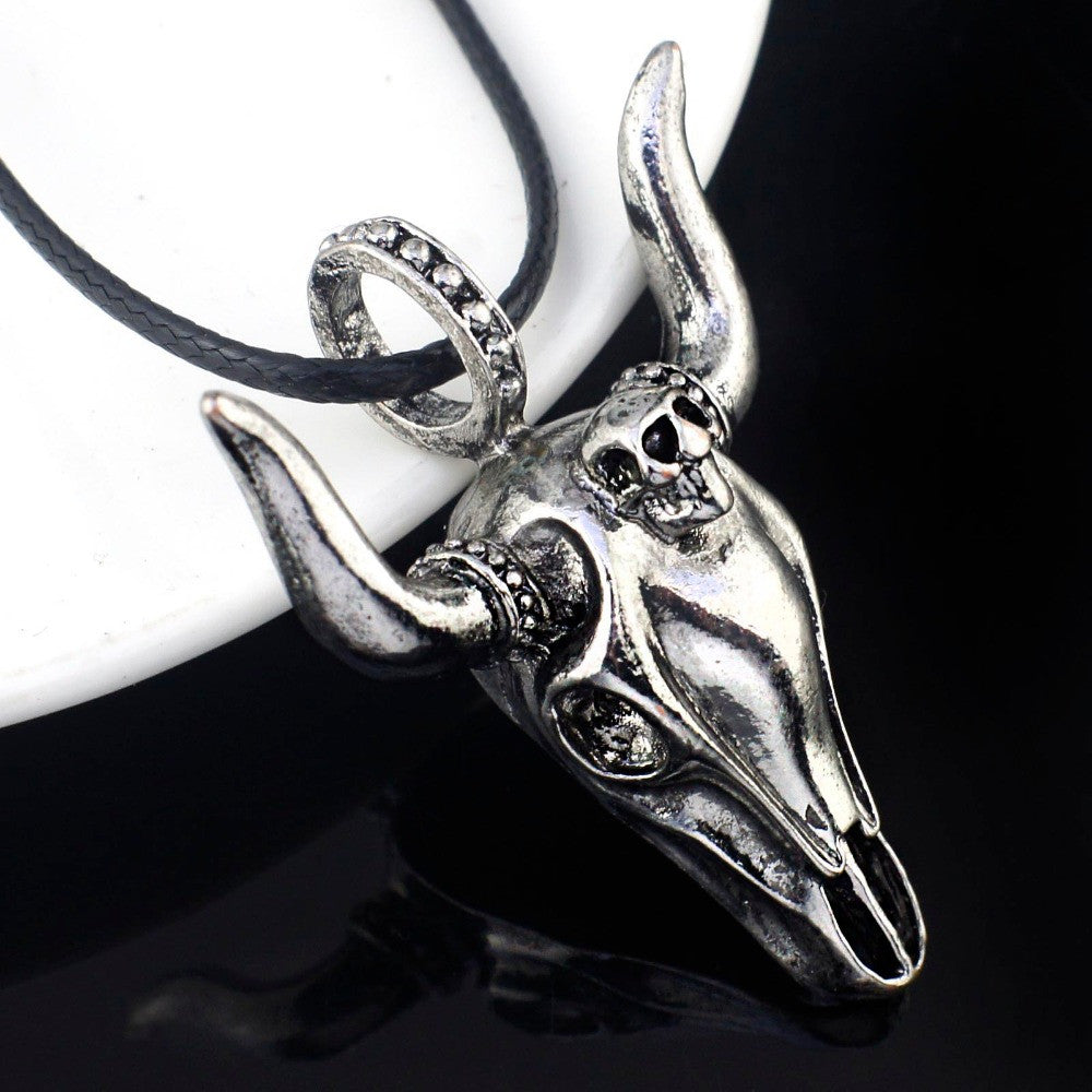 Cool Men's Tauren Cow Skeleton Skull Titanium Stainless Steel leather chain Pendant Necklace