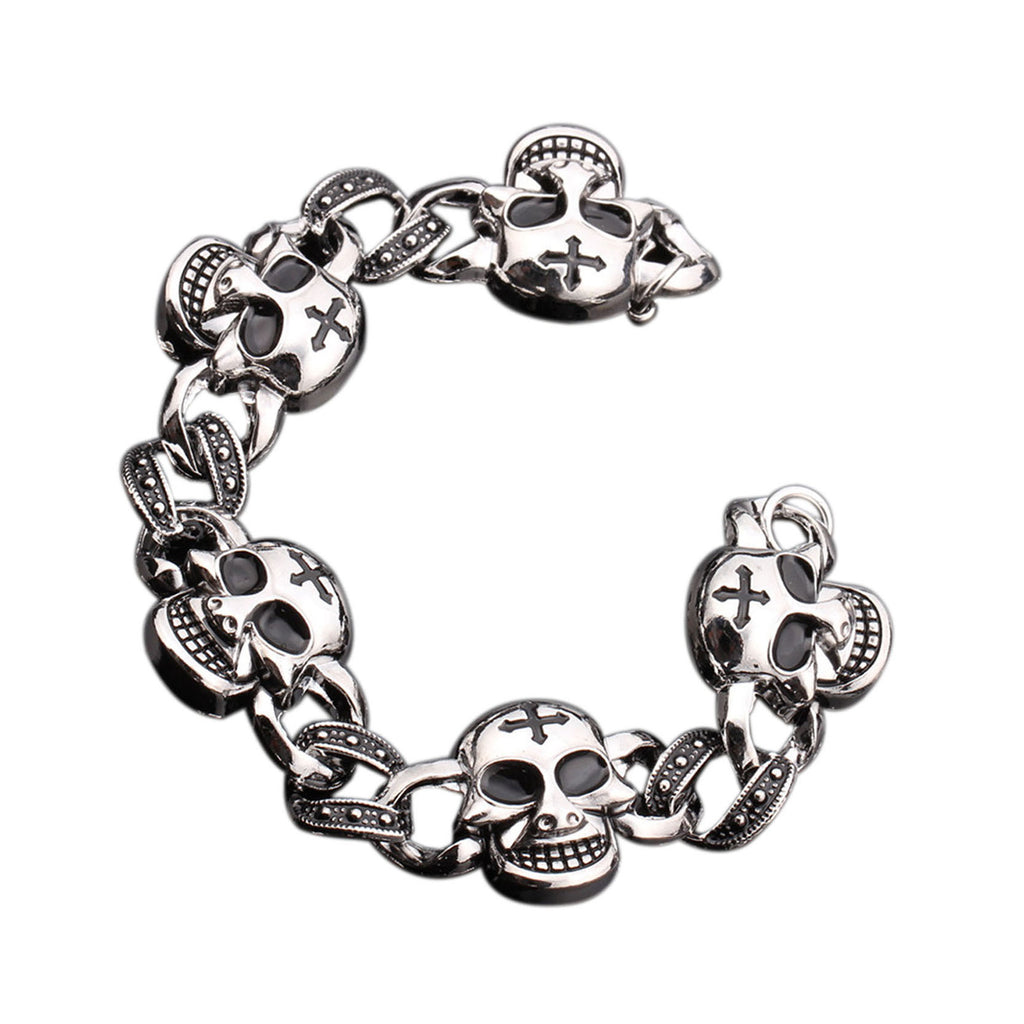 Cool Punk Skull Men Bracelet High Quality Stainless Steel Cuff Bracelets Bangles Men Jewelry Accessories For Best Friends