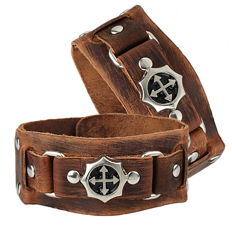 Cool Rock Men Woman Genuine Leather Cross Studs Wrap Bracelet Bracelets