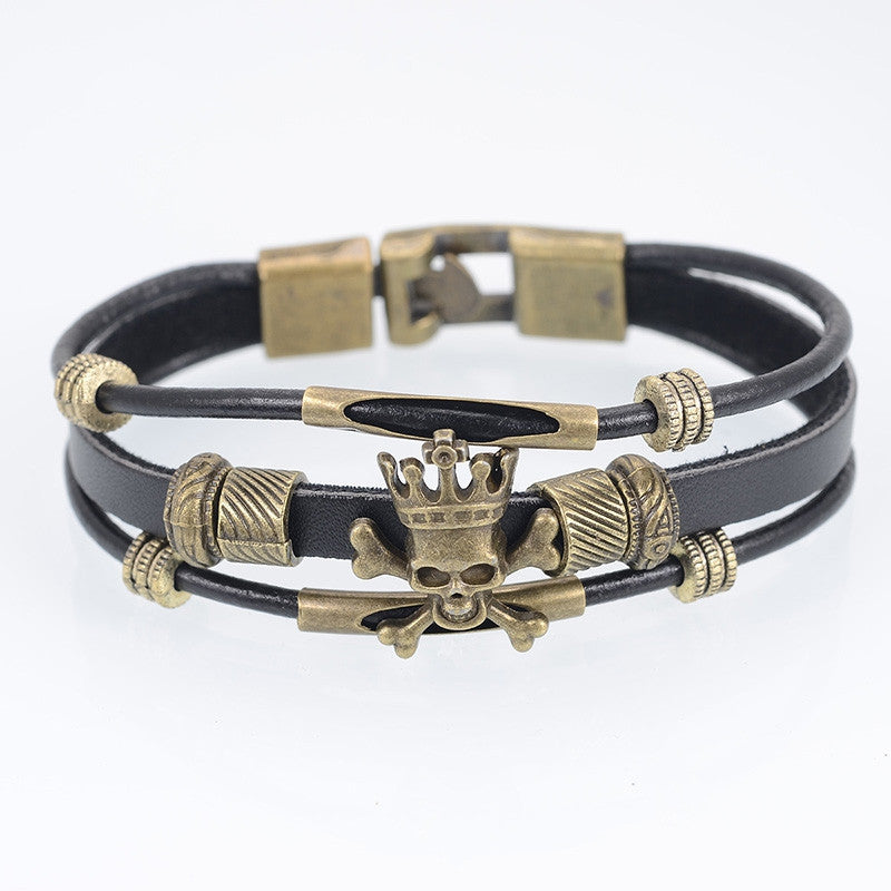 Cool Skull Men Bracelet Punk Black Leather Bracelets & Bangles For Men Women Wrap Male Bracelet with Charms Wristband Jewelry