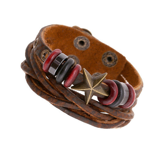 Cool Surfer Men Bracelets Vintage Genuine Brown Leather Braided Double Layer Cuff Bracelet Bronze Star Studded Rivet Bangle Male