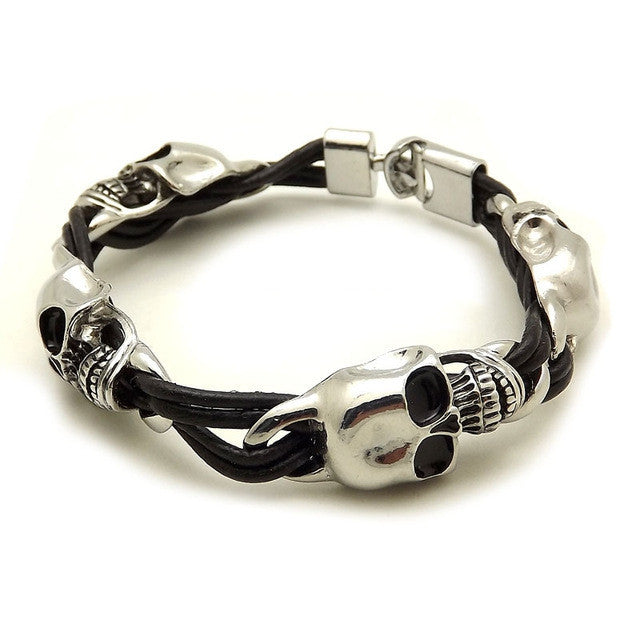 Braided Leather Punk Skull Head Bracelet Bangle Wristband For Unisex Man men Women Gift