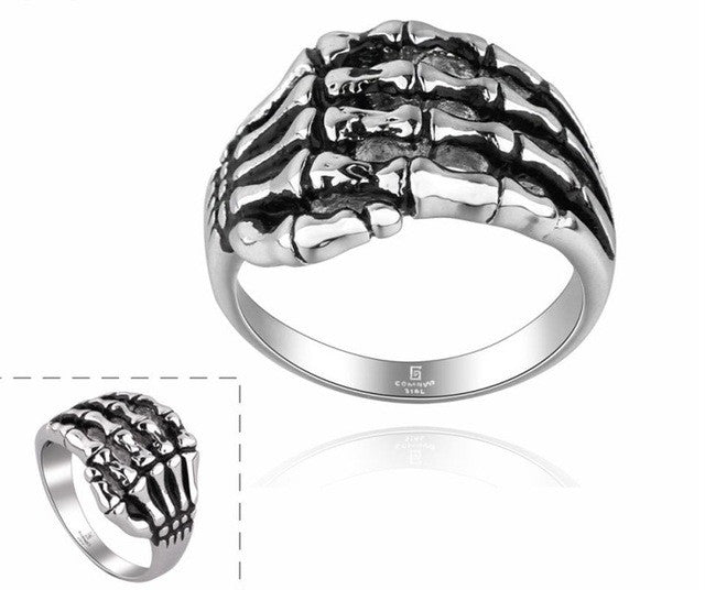 Cool Alloy Silver Men's Punk Skull Head Finger Rings Jewelry Men's Fashion Rocker Wearing
