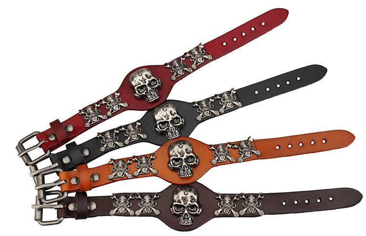 Cool Hot sale Men Women Skull Bracelets Rock Punk Genuine Leather Special Bracelet