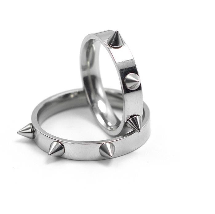 Cool Men Women s Punk Style Silver Tone Stainless Steel Rings Spiked Cone  Rivet Rings Self- e5ff008243