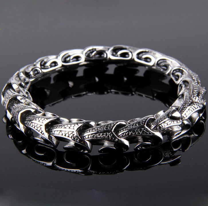 Cool Stainless Steel dragon Grain Bracelets For Men New Arrival Personality Keel Mens Bracelets & Bangles For Man Jewelry