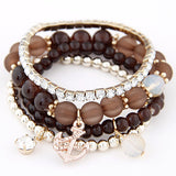 Cool Summer Bohemia Candy Jelly Beads Anchor Crystal Charm Bracelets Bangles Multilayer Beaded Elastic Accessories Women