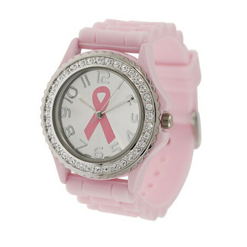 Creative,Fashion Women Girl Crystal Cancer Dial Quartz Analog Silicone Band Wrist Watch