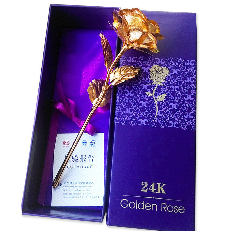 Creative Valentine's day craft Birthday wedding gift 24k gold foil plated rose lover's Gold Dipped Rose artificial flower