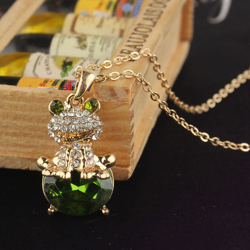 Creative Style Jewelry 14k Gold Filled Austrian Crystal Frog Pendant Unique Women's Necklace fashion Special Party Gifts