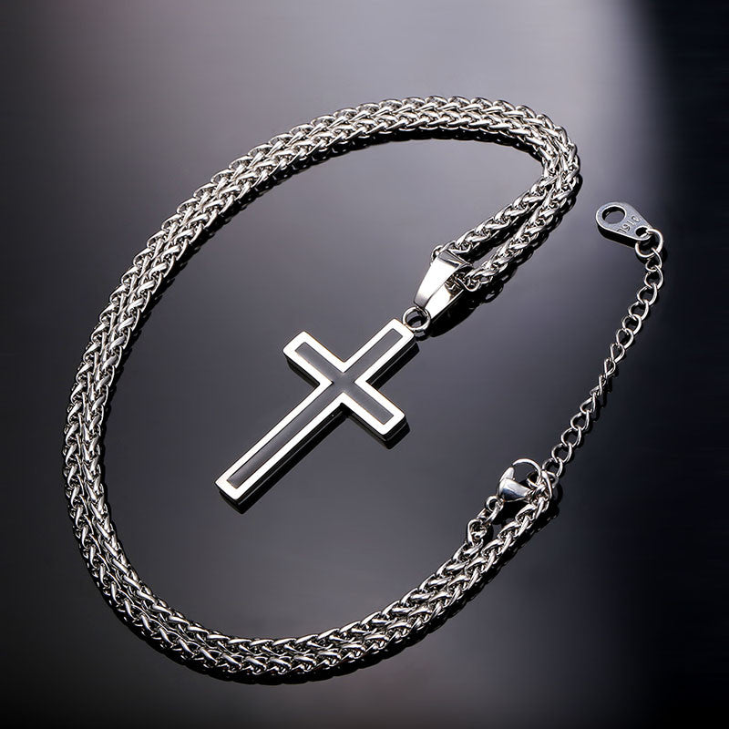 Cross Necklace & Pendant Christian Jewelry Wholesale 316L Stainless Steel Gold Plated Chain Cross Necklace Men