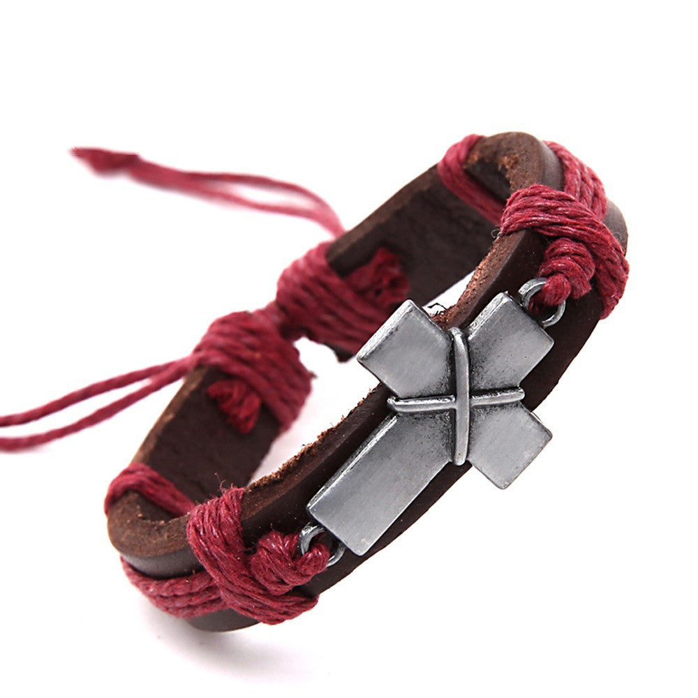 Cross Vintage Leather Bracelets Charm Bracelets for Women Men Wristband Cord Fashion Jewelry