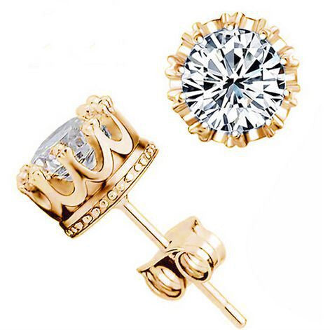 Crown 18k Gold Plated Earrings Women Brincos De Prata Men CZ Diamond Silver White Crystal Jewerly Double Stud Earing