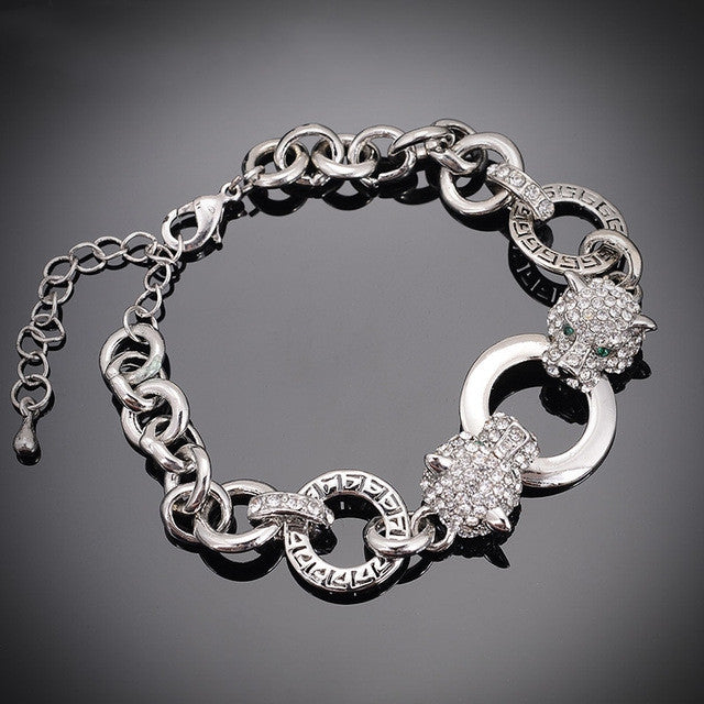 Crystal Jewelry Silver & Gold Chain &Links Bracelet Hot Sale Double Tiger Head Fashion bracelets & bangles For Women And Men