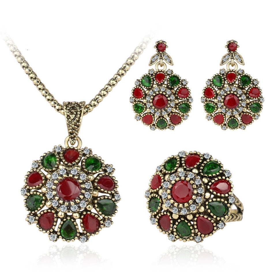 Crystal Flower Necklace Sets Fashion Earing For Women Strawberry Jewelry Turkish 3Pc Combination Nigerian Red Bead Necklace