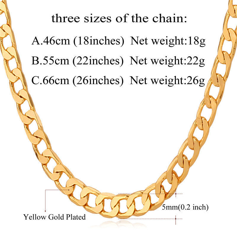 Miami Cuban Gold Plated Chains Necklace Men New 5MM Fashion Party Men Jewelry Gift Wholesale Curb Link Chain