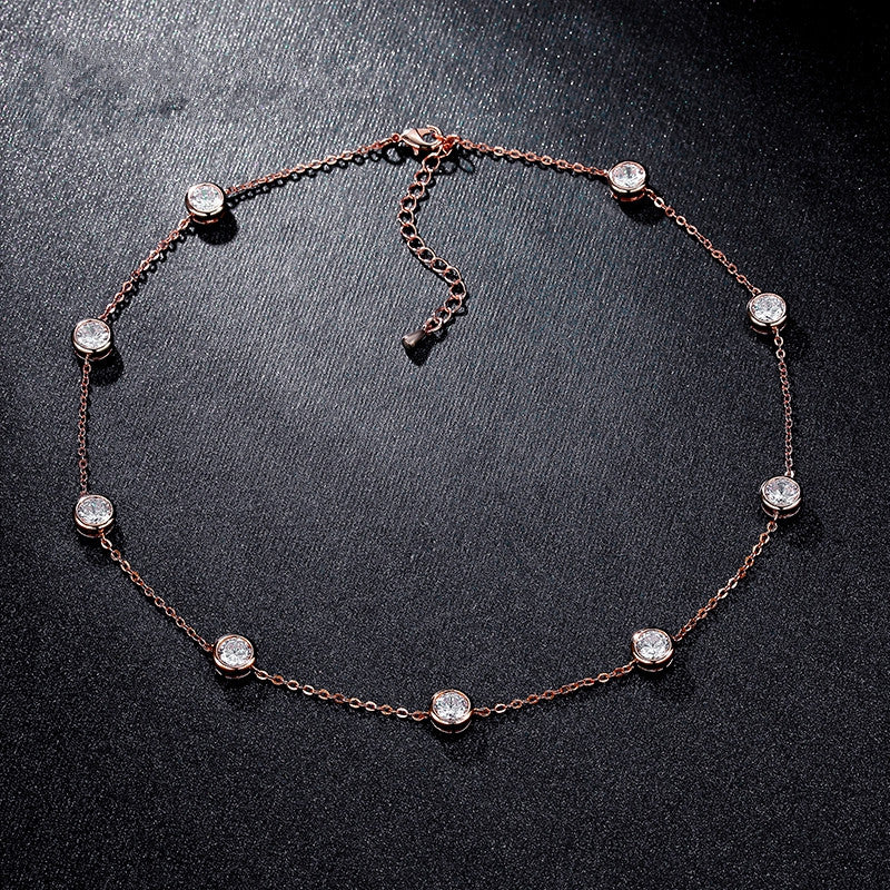 Cubic Zirconia Crystal Gold / White / Rose Gold Plated Choker Necklaces Jewellery for Women Collares