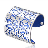 Cuff Bracelets Gold plated Color plated Punk Style PU Leather BanglesFor Women Vintage Hollow Out Design
