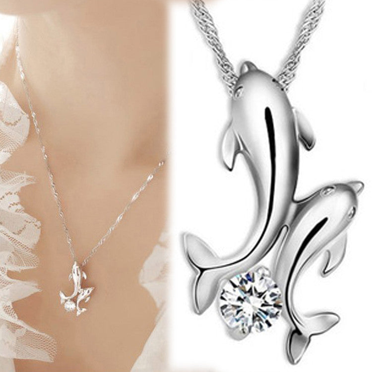 Cute Silver Plated Double Dolphin Rhinestone Short Chain Pendant Necklace Women Fashion Jewelry