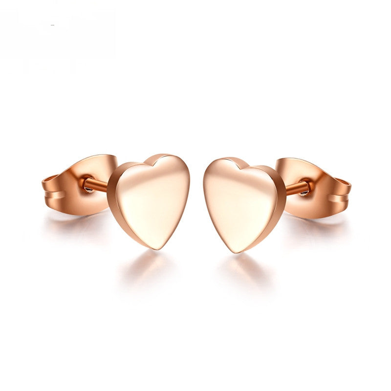 Tiny Rose Gold Plate Heart Stud Earrings, Gifts for Her
