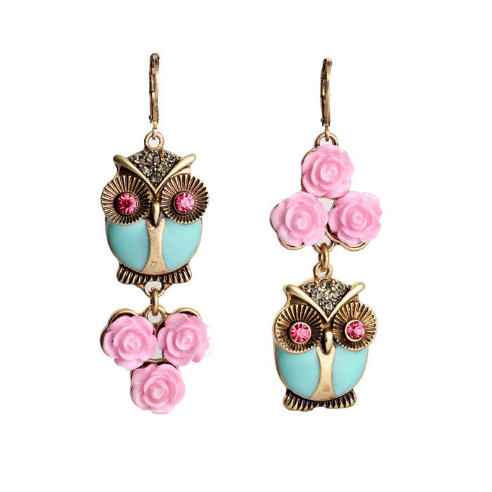 Cute Fashion Pink Flowers Owl Long Earrings Women Costume Jewelry