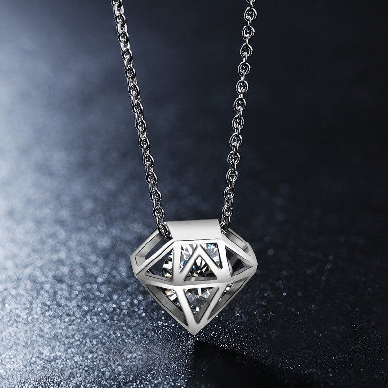 Cute Hollow Diamond-shaped Round Cut Clear CZ Diamond Necklace White Gold Plated Gros Collier Femme Jewellery