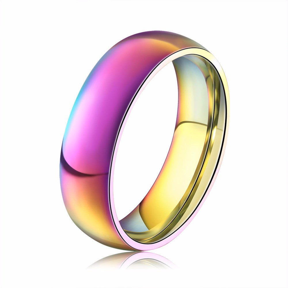 Classic Men Women Rainbow Colorful Ring Titanium Steel Wedding Band Ring Width 6mm Size 6-12 Gift