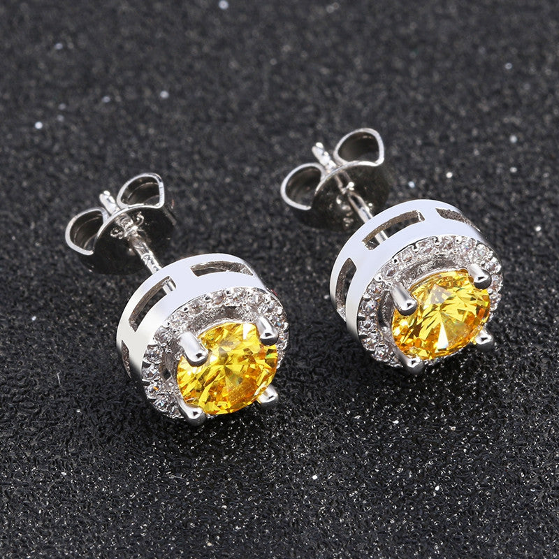 Hot Sale Women Earring Stud 0.75ct CZ Zircon Crystal Jewelry Stud Earrings Platinum Plated