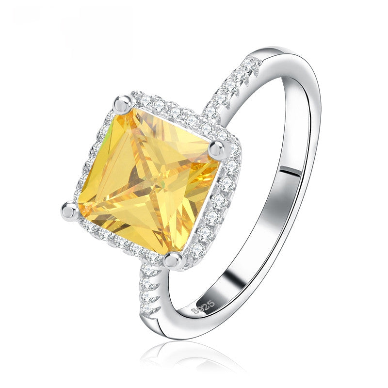 Luxury Princess Cut Yellow CZ Ring with Micro Paved Clear Zircon Platinum Plated Women Engagment Rings