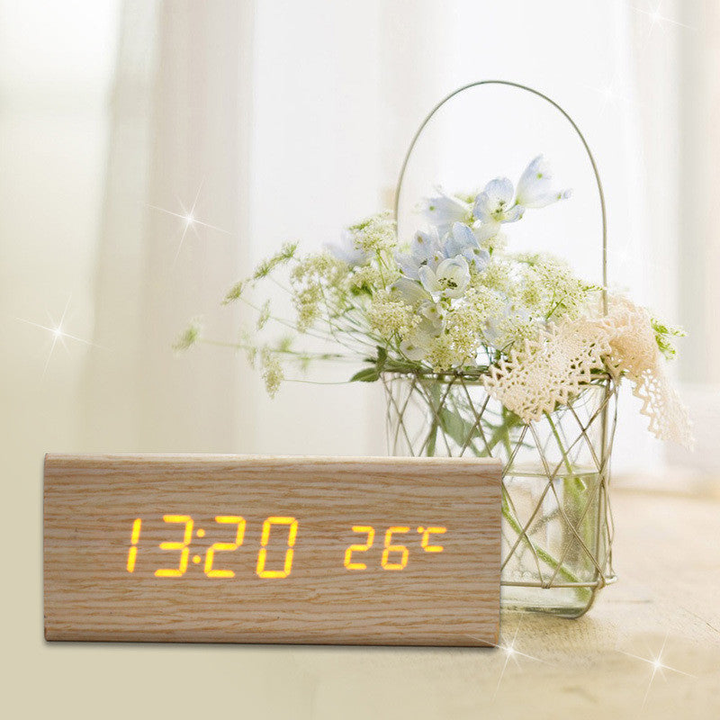 Sound Control USB Solid Wooden Desk Bedside Digital Alarm Clock Tempreture Display Orange Light