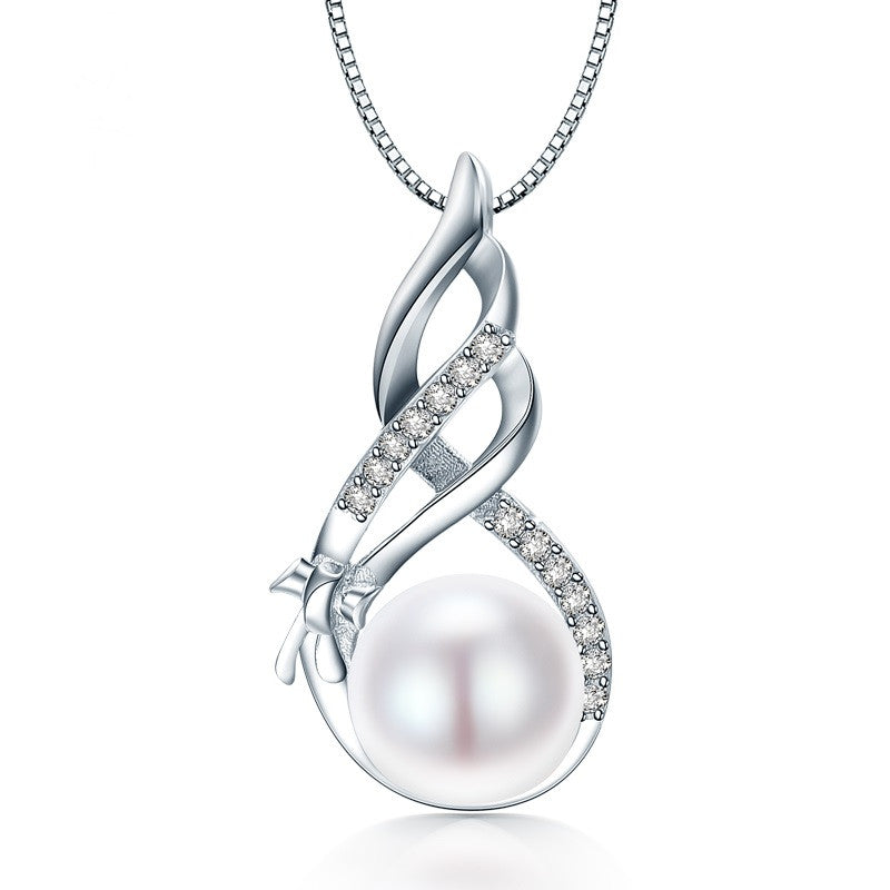 Fashion 925 Sterling Silver Jewelry High Quality Luster Natural Pearl Jewelry White/Pink Pendant