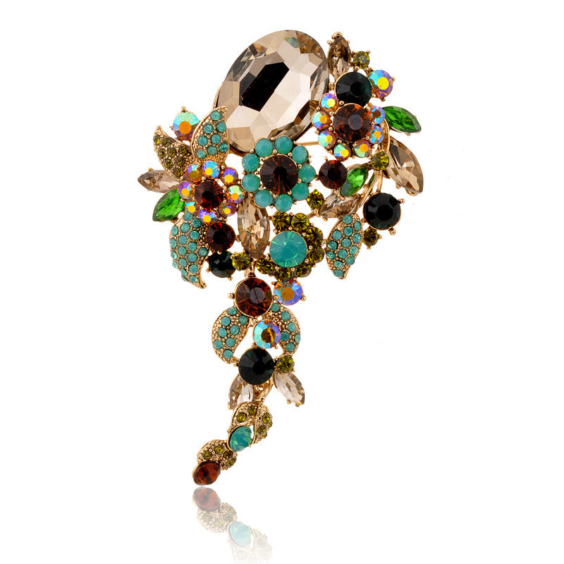Dangle Colorful Big Brooch New Fashion Crystal High-end Atmosphere Brooches Pins For Women