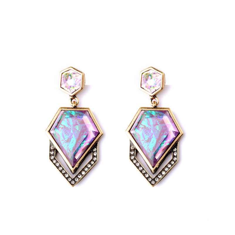 Dazzle Color Geometric Imitation Gems Brand Designer Women's Trendy Drop Earrings