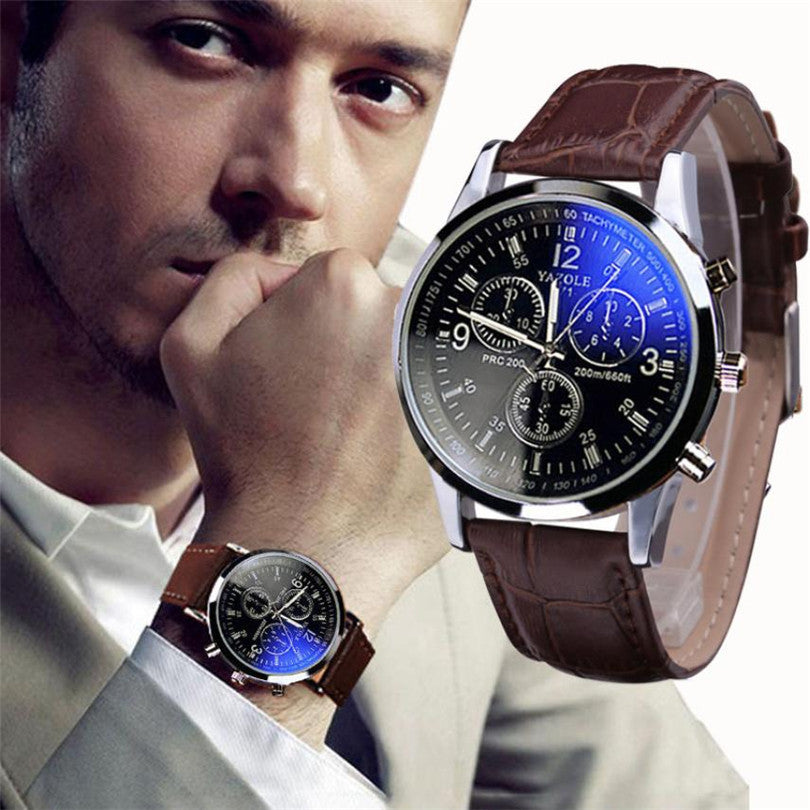 Delicate Fashion Brown Faux Leather Men Blue Glass Quartz Analog Watches Casual Cool Watch Men Watches