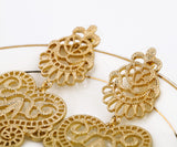 Designer Jewelry Hot Selling Elegant Gold Color Metal Hollow Earrings for Women