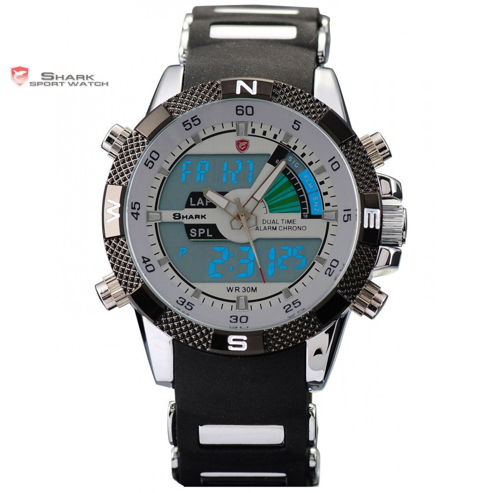 Digital SHARK Sport Watch Dual Time Date Day Alarm Silicone Strap Outdoor White Quartz Wrap Military Mens Gift Wristwatch