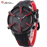 Dogfish Shark Sport Watch Auto Date LED Display Black Red Silicone Strap Band Digital Military Men's Quartz Wristwatch