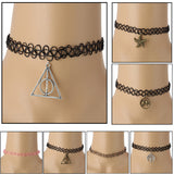 Double C Fashion Handmade Multicolor Vintage Stretch Tattoo Choker Necklace Gothic Punk Elastic With Pendant Necklaces