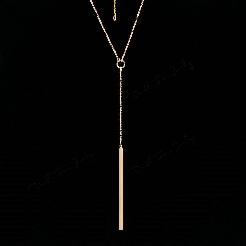 Double Fair Anti Allergy Hot Sale Y Style Chain Long Necklaces & Pendants Rose Gold Plated Strip Bar Jewelry For Women