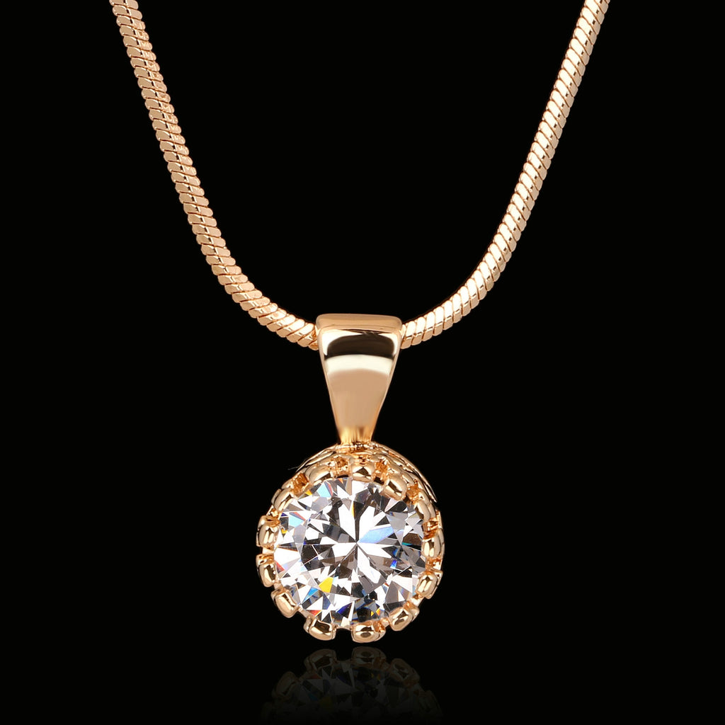Brand Unique Crown Cubic Zirconia Necklaces &Pendants Silver/Rose Gold Plated Chain Fashion Jewelry For Women