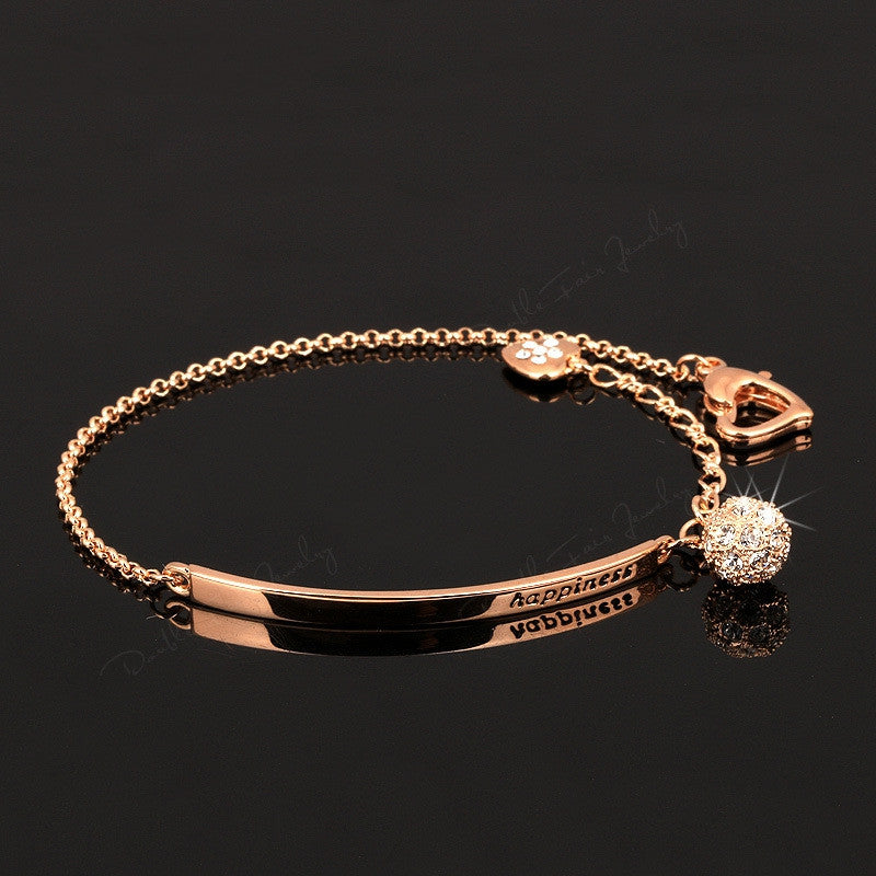 Double Fair OL Style CZ Diamond Ball Fashion Party Charm Bracelets & Bangles Rose Gold Plated Crystal Jewelry For Women