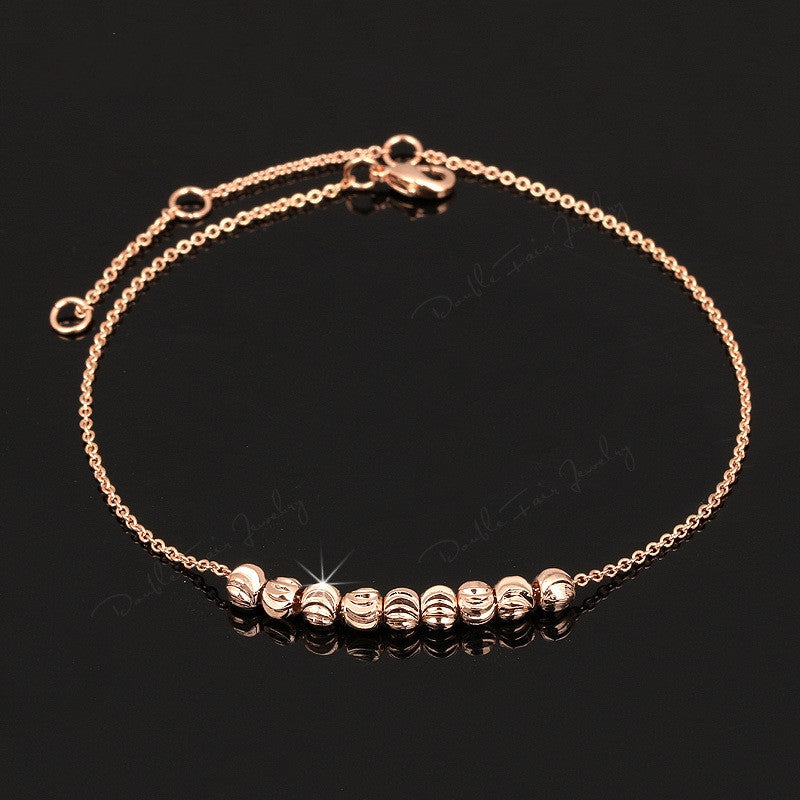 Simple Style Metal Beads Anklets Chain Rose Gold Plated/Silver Tone Fashion Jewellery/Jewelry For Women