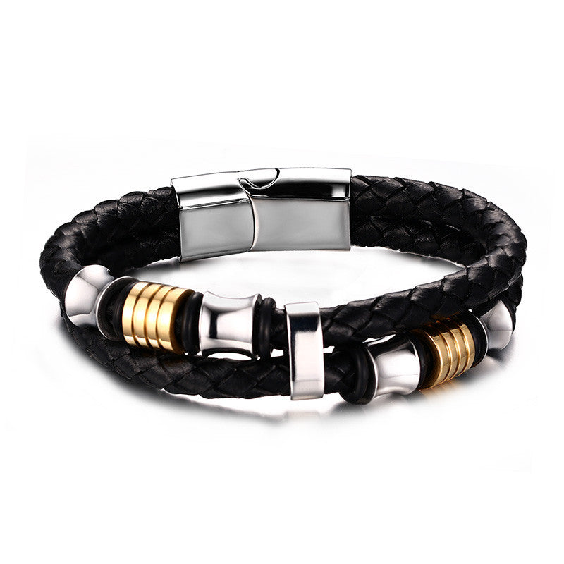 Double-deck Genuine Leather Bracelets & Bangles Brown Casual Style Wear Sets Men Jewelry Stainless Steel Wristband