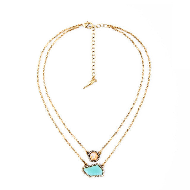 Double Chain Personality Irregular Pendant Necklace Women Fashion Jewelry