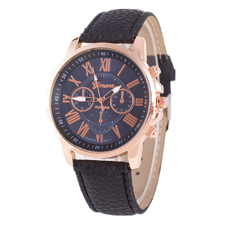 Double layer Roman Numerals dial Casual Watch New Women Dress Watch Fashion Geneva Genuine Leather Analog Quartz Wristwatch