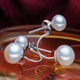 Double sided earring the luxurious atmosphere Natural Freshwater Pearl Earrings Jewelry for women wedding jewelry