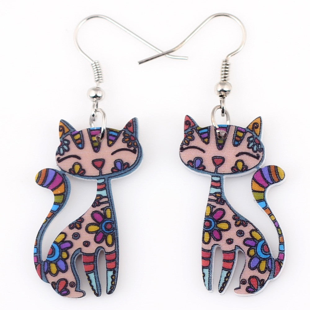 Drop Cat Earrings Dangle Long Acrylic Pattern Earring Fashion Jewelry For Women New Arrival Accessories