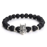 Gold/Silver Plated Wolf Head Bracelet Men Natural Black Lava Volcanic Stone Beaded Bracelets Women